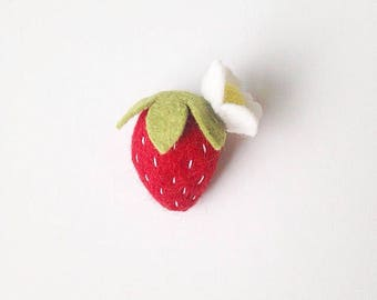 Felt Strawberry Hair Clip or Headband