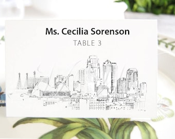 Kansas City Skyline Place Cards, Fairytale Wedding, Placecards, Escort Cards, Wedding, Custom with Guests Names (Set of 25 Cards)