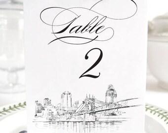 Cincinnati Skyline Table Numbers (1-10)