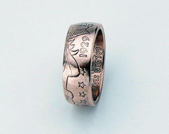 Incuse Indian 1/4oz .999 Pure Copper Coin Ring, Unique Ring, Coin Jewelry, Mens, Liberty, Band, Rings