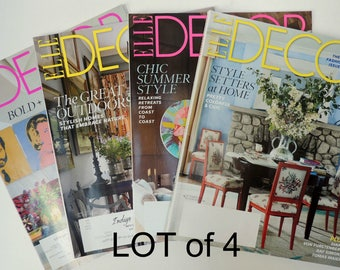 """LOT of 4 """"Decor"""" Magazines: Arts, Antiques, Decorating, Fashion, Textiles. Summer Chic, Makeovers, Outdoors, Style Setters. 2015 Issues BK69"""