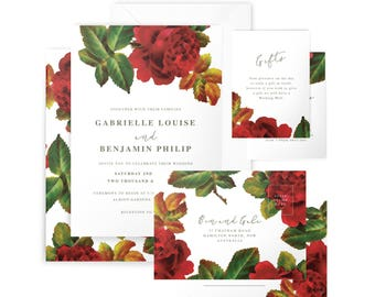 Printed/PDF Wedding Suite in 'Cross Stitch Rose' - Floral, Vintage, Red - Invitation, RSVP, Wishing Well/Registry, Envelopes - Customisable