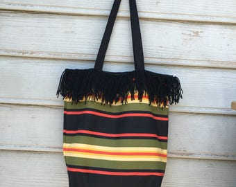 Falsa mexican blanket inspired stripes handmade crotchet canvas rasta colors bohemian hippie tote bag