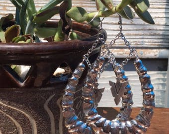 Tear drop over sized bamboo silver metal chain arrowhead spear earrings