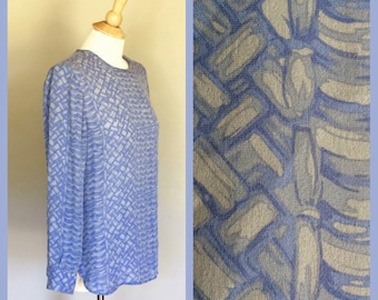 Womens Vintage Long Sleeve Silk Blouse, Blue Gray Printed Top Small to Medium