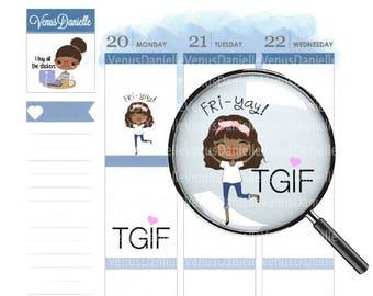 TgIf Planner Stickers, TGIF Stickers, Fri-yay Stickers, Friday Stickers, TGIF, Functional Stickers, Happy Friday Stickers, EC, Planner