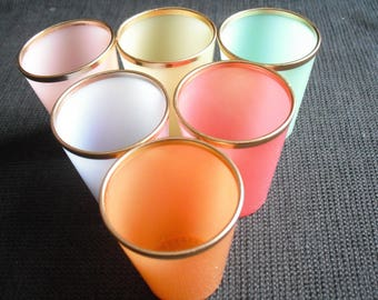 plastic harlequin shot glasses set of six Vintage Hong Kong