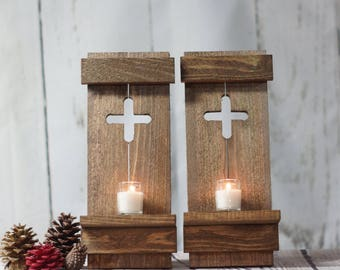 Rustic Wooden Wall Sconce Wedding Decor, Wooden Wall Candle  Holder Wooden Sconce, Country Style Wall Sconce,