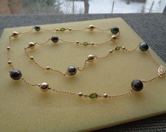 Long gold chain with balls, Tahitian pearls, Peridot, in 585 gold filled!