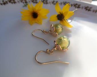 Sweet Murano glass earrings 585 gold filled, peridot green, smart design