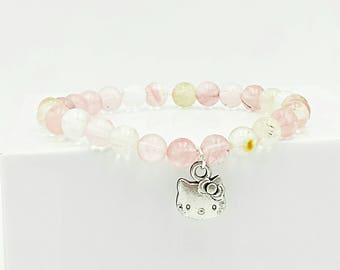 Cherry quartz crystal bracelet, hello kitty, charm bracelet, beaded bracelet, beaded jewelry, stretch bracelet, stretchy bracelet, pink mix