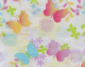 Set of 2 pcs 3-ply Butterflies paper napkins for Decoupage or collectibles 33x33cm, Decorative paper napkins for decoupage, Napkins online