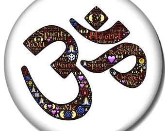Om Symbol Pin-Back Button - 6 Sizes Yoga Namaste Pose Relaxation Meditation Yogi