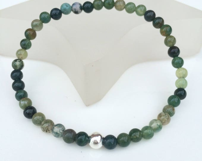 Green Moss Agate stretch Bracelet with Sterling Silver or Gold Fill accent bead