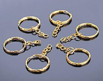 Key Rings - Key Chains - Gold Key Chains, No End Ring - 25 Pcs - Gold Key Rings with Chain - Key Chain Hardware - Key Ring Blanks - KC-G02
