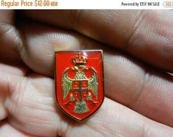 Summer Sale Vintage Cased Enamel Coat of arms of Yugoslavia Pin