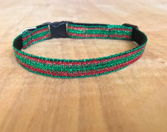 Red And Green Sparkly Chistmas Extra Small Dog Or Cat Collar