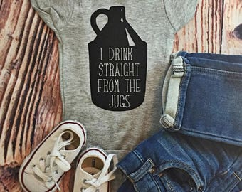 READY TO SHIP! I Drink Straight From The Jugs // Breastfeeding Bodysuit // Beer Baby Bodysuit /Funny Bodysuit // Baby Clothing/ Baby Shower