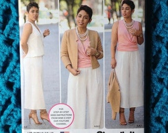 Simplicity 8093, misses top and cropped pant, lined jacket, New uncut sewing pattern, size 6-14, 16-24, wide leg, Mimi G Style