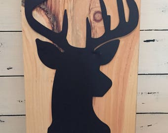 Metal deer head on knotty white pine wood, deer wall hanging, metal deer sign