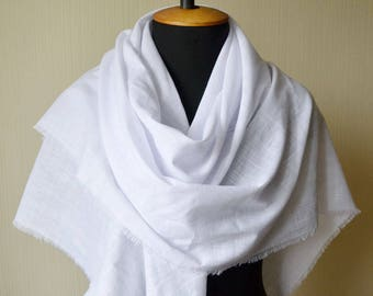 Linen scarf bridal shawl rustic wedding shawl white shawl pure linen gift|for|wife gift linen shawl bridesmaid shawl womens gift|for|women