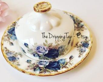 Royal Albert Moonlight Rose Round Butter Dish Blue Flowers Gold Trim Gifts for Her Fancy Ornate Tableware Dinnerware Bridal Wedding