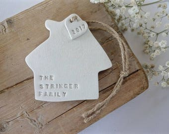 Personalised new home gift / White clay house ornament personalised with surname / housewarming gift / wedding gift