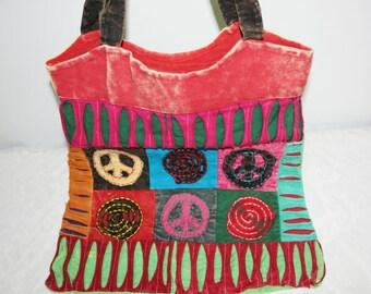 Colorful hippie bag, shopping bag, peace, shopping bag, hippie bag