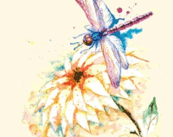 "ON SALE Counted Cross Stitch Pattern chart pdf file - dragonfly watercolor  - 14.29"" x 18.57"" - L1345"
