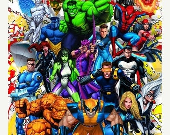 """ON SALE Counted Cross Stitch Pattern - Marvel superheroes - 19.71"""" x 28.64"""" - L796"""