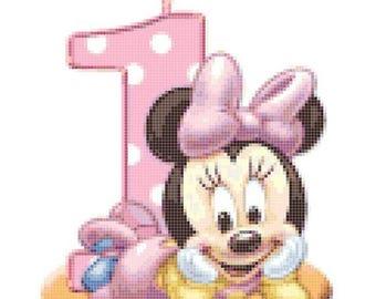"""1st birthday Counted Cross Stitch minnie pattern minnie cross stitch needlepoint korss needlework - 6.71"""" x 8.50"""" - L252"""