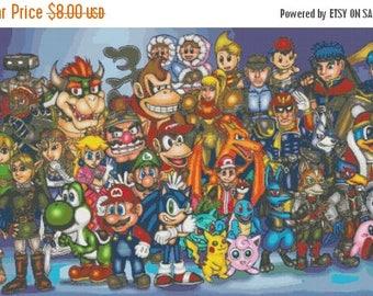 "nintendo Counted Cross Stitch nintendo Pattern modern pattern  nintendo characters with Mario Luigi - 35.43"" x 20.57"" - L839"
