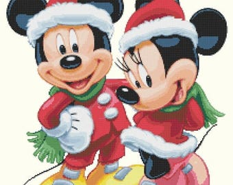 "mickey Cross Stitch mickey Pattern minnie cross stitch christmas pattern needlepoint point de croix - 15.71"" x 19.21"" - L1160"