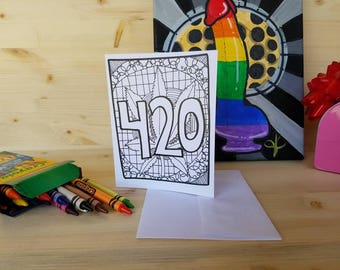 420 Coloring Greeting Card/ Cannabis Greeting Card/ Pot Greeting Card/ 420 Art/ 420 Thank You Card/ Cannabis Art/ High Greeting Card/ Weed