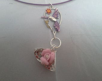 pendant for little Princess (the Hummingbird and pink)