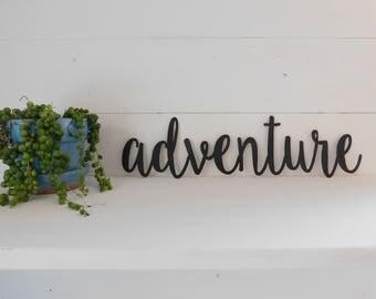 Adventure Sign, Metal Adventure Sign, Rustic Word Art Sign, Metal Word Art