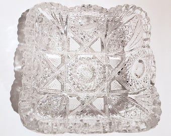 Vintage EAPG Imperial Glass Square Trinket Dish Hobstar Pattern and Sawtooth Edge