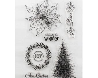 Board of 5 clear stamp Christmas themed stamps, Crown and tree