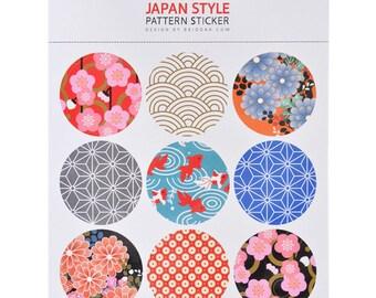 set of 9 tags sticker whasi motif round