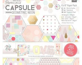Block of 36 sheets Geometric Neon GEOMETRIC CAPSULE 15 x 15 cmm