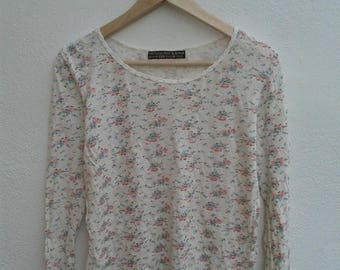 ON SALE 4 Vintage 90s Pleasent Heart Floral style full print long sleeve stretchy t-shirt