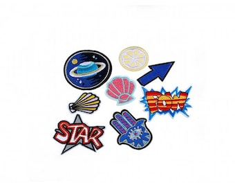 Pack of 8 badges patches fusing universal symbols