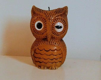 Vintage Winking Owl Candle // Wax Owl // 1970's Candle // Woodland Owl Candle //