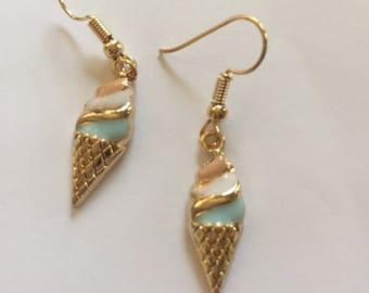 Gold Pleated Ice Cream Earrings