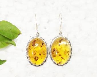 Amazing BALTIC AMBER Gemstone Earrings, Birthstone Earrings, 925 Sterling Silver Earrings, Fashion Handmade Earrings, Dangle Earrings