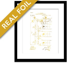 Electric Lighting System Patent Illustration Gold Foil Art Print - Vintage Patent Poster - Thomas Edison Art - Electrician Gift Wall Art