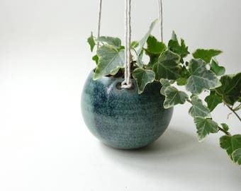 Small Hanging Planter - Hanging Vase for succulent plants, cacti, and small plants - Blue Green Handmade Ceramic hanging planter - Pottery