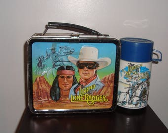 Legend of the Lone Ranger Metal Lunchbox with Thermos 1980