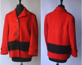 Vintage 60s Hudson Bay Point Coat Women's Red Wool Point Blanket Coat Sz. Medium
