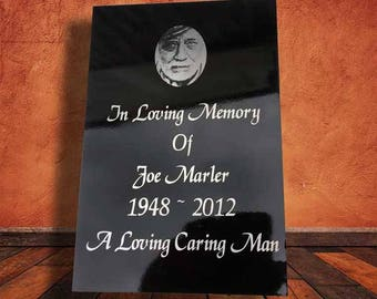 Laser etched stove enamel memorial plaque